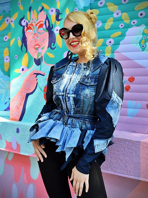 Patchwork Peplum Denim Jacket