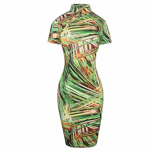 Retro Print Stretch Short Sleeve Stand Collar Sheath Dress