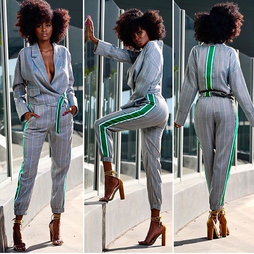 Plaid Stripe Pants Set
