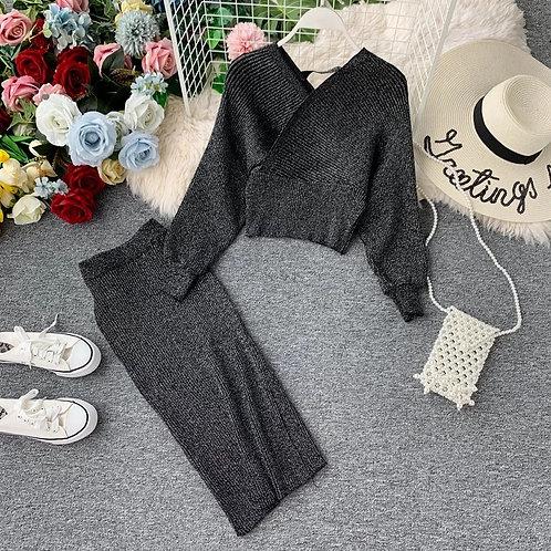 Bat Sleeve Sweater Skirt Set