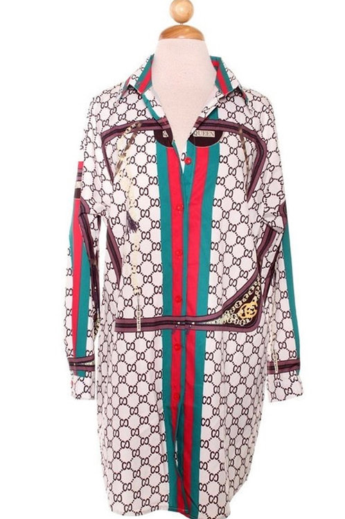 Printed Gucci Inspired Shirt Dress