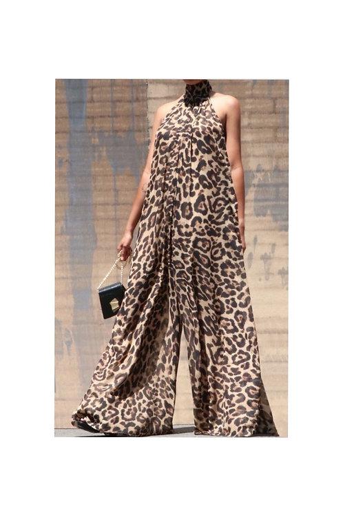 Leopard Chiffon Wide Leg Jumpsuit