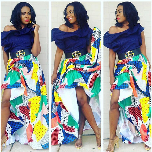 Gathered Multi Colored Maxi Skirt