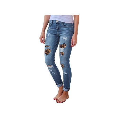 Leopard Patch Distressed Jeans