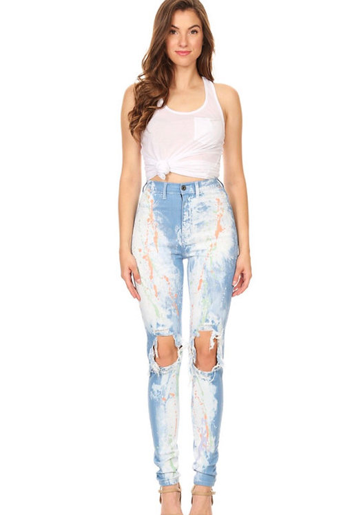 Splash Destruction High Waist Jeans
