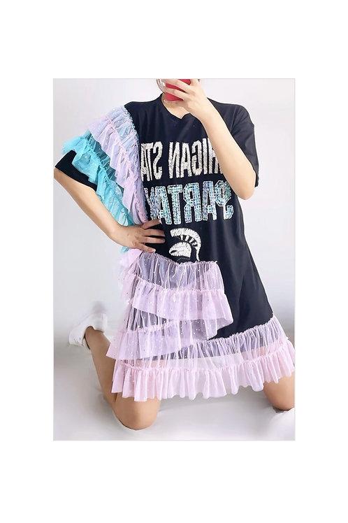 Sequins Letter Print Ruffle Dress