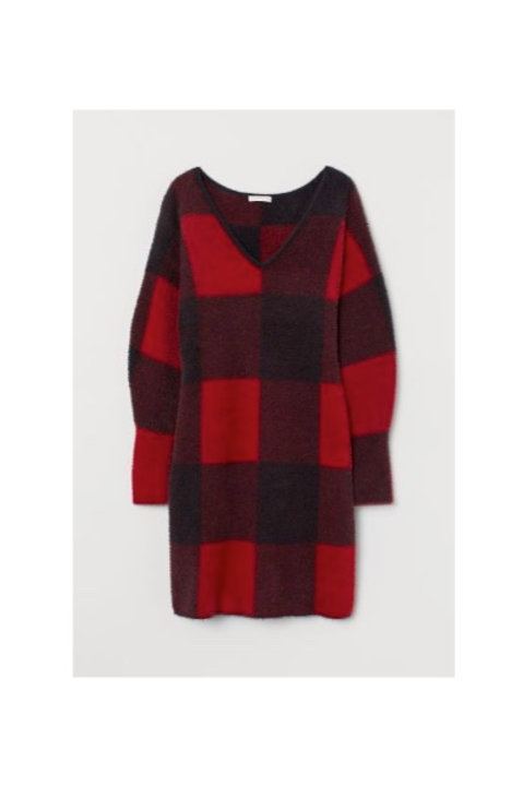 V-Neck Plaid Sweater Dress