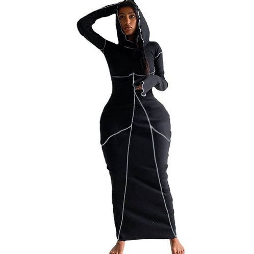 Casual Stitched Hooded Dress