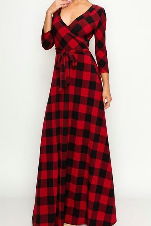 Plaid Maxi Wrap Dress