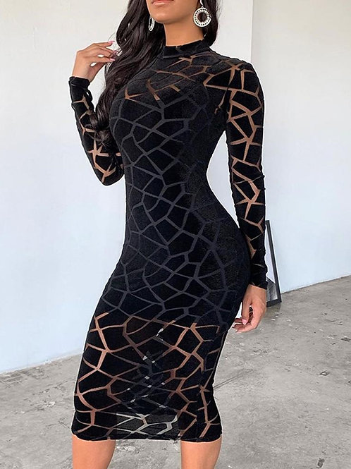 Cracked Mesh Midi Dress