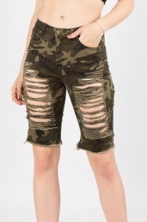 Distressed Twill Shorts