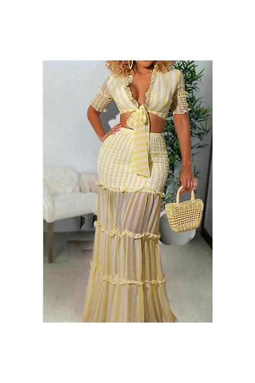 Stripe Pleated Skirt Set