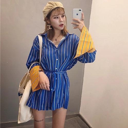 Striped Loose Long Wide Sleeve Shirt Dress