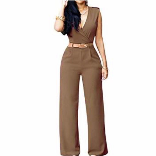Sleeveless V Neck Long Loose Belted Jumpsuits Rompers