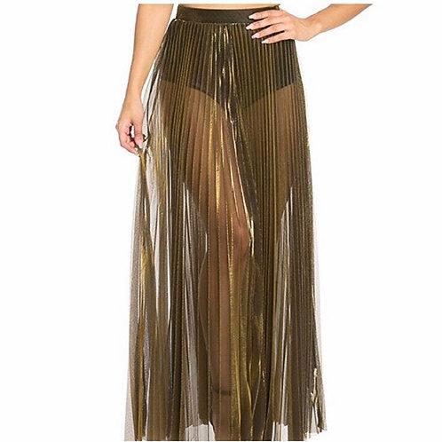 Metallic See-Through Skirt