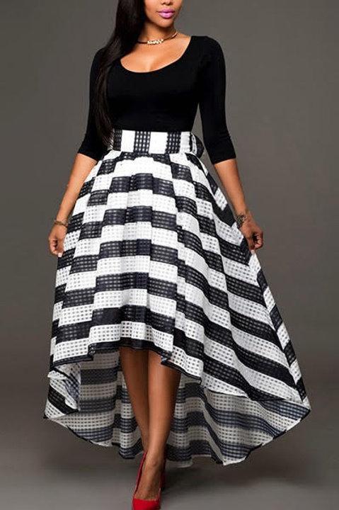 Striped Two-Piece Skirt Set