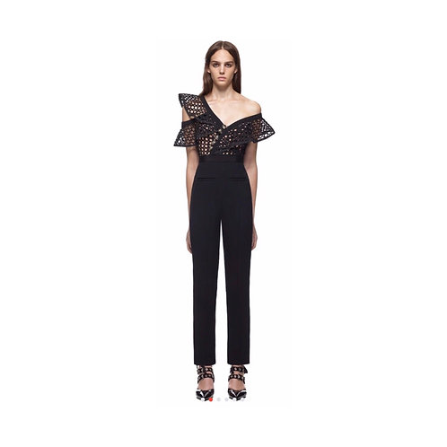 Ruffle Hollow Out Frill Jumpsuit