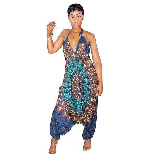Printed Sleeveless Harem Jumpsuit