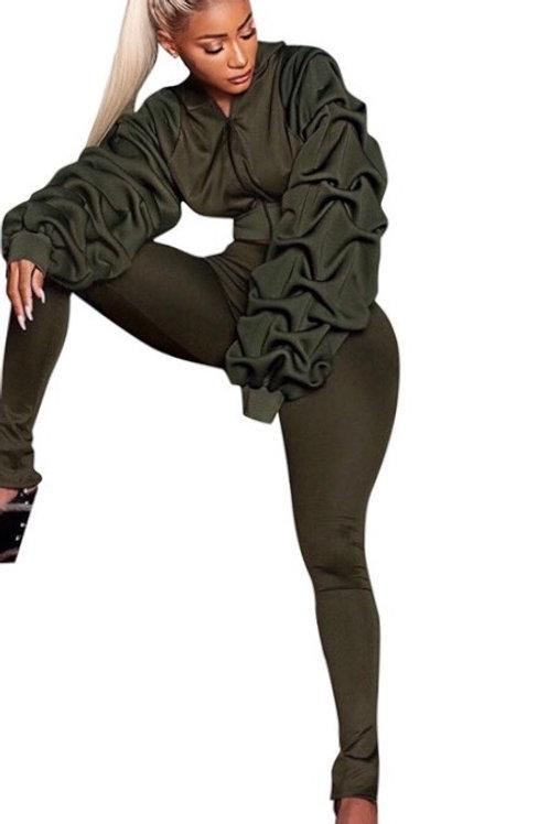 Ruffle Lantern Sleeve Crop Pants Set