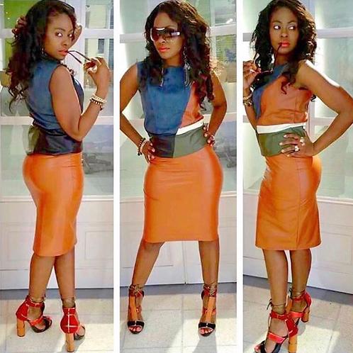 Faux Leather Bodycon Midi Pencil Skirt