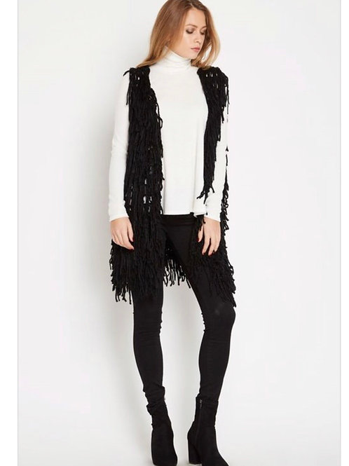 Sleeveless Shaggy Fringe Vest