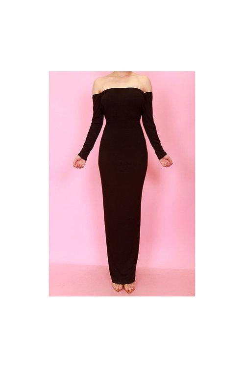 Off Shoulder Open Back Maxi Dress