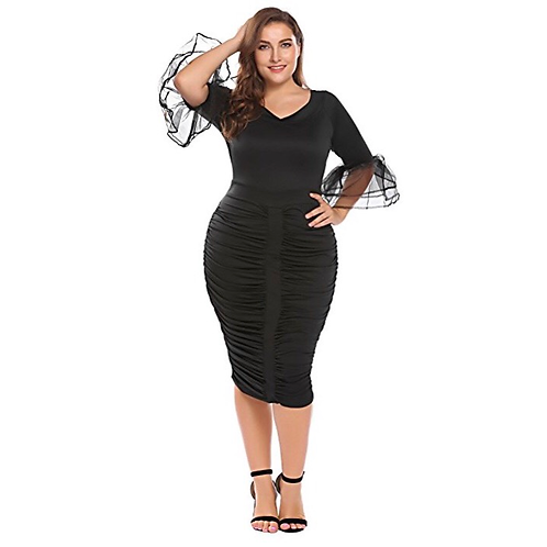Flare Sleeve Runched Dress