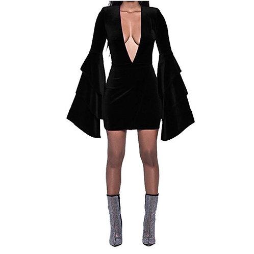 V-Cut Ruffle Bell Sleeve Velvet Dress