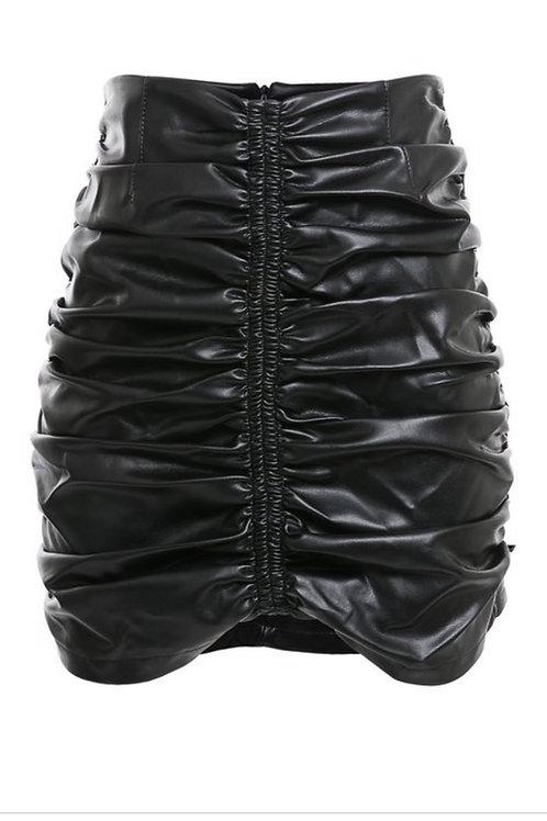 Ruched Faux Leather Skirt