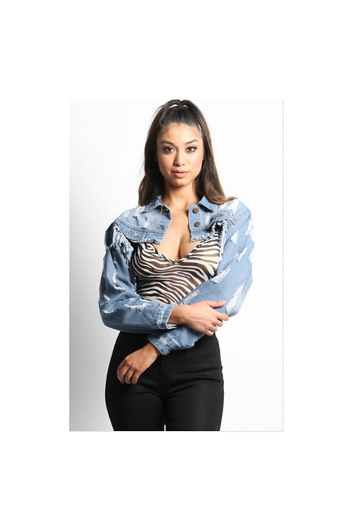 Above the Law Denim Cropped Jacket