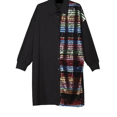 Sequins Oversized Collar Shirt Dress