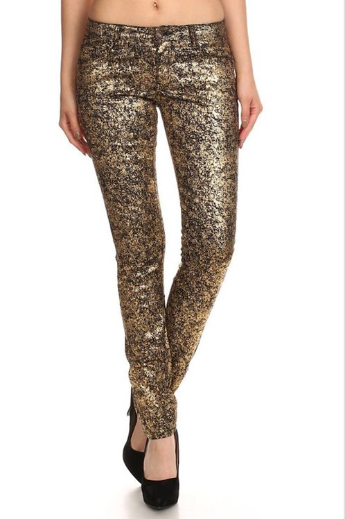 Low Rise Metallic Print Jeans