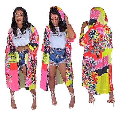 Floral Hooded Kimono