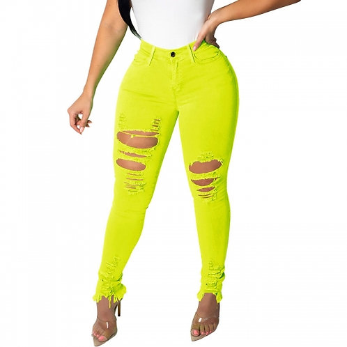 Distressed Neon Yellow Jeans