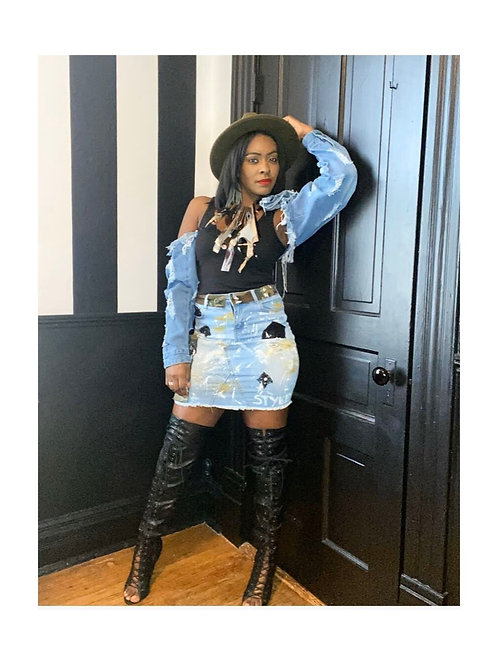 Denim Custom Styled Mini Skirt