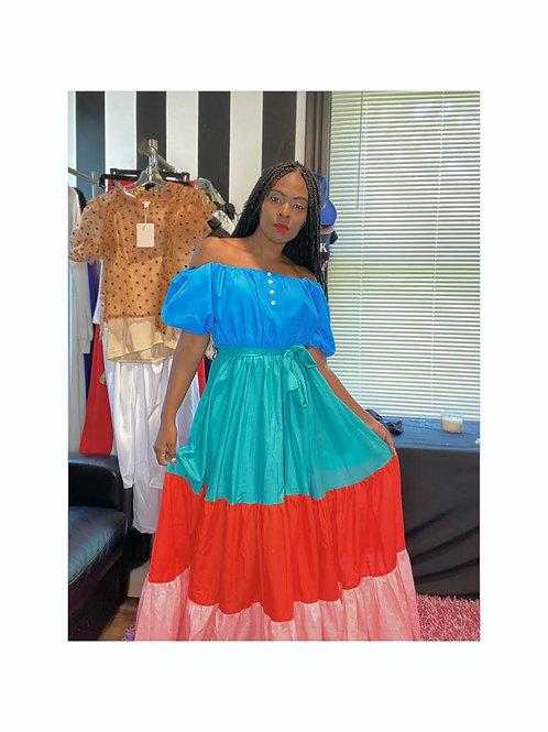 4-Tone Off Shoulder Maxi Dress