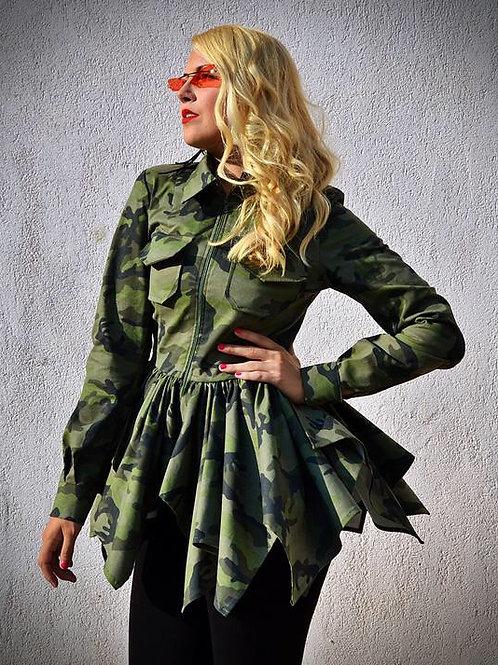 Camouflage Grunge Peplum Jacket