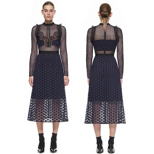 Designer Crochet Lace Runway Dress