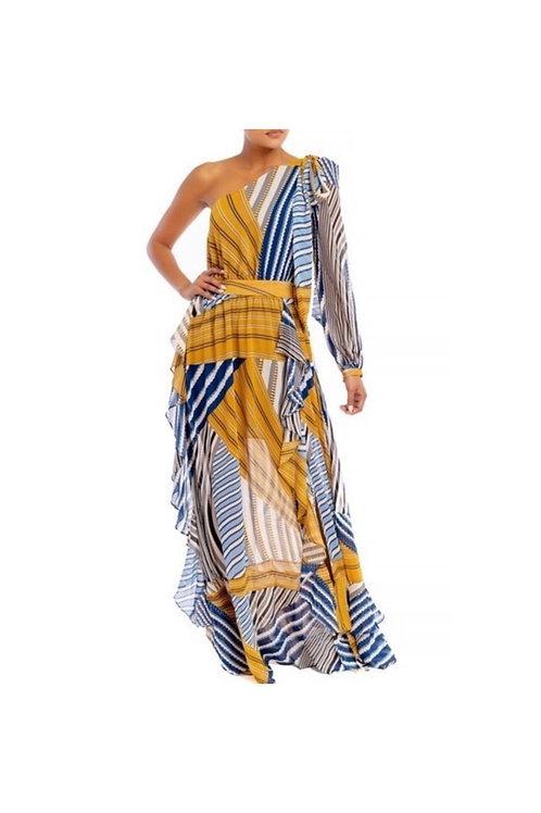 Multi Stripe Printed One Shoulder Maxi Dress