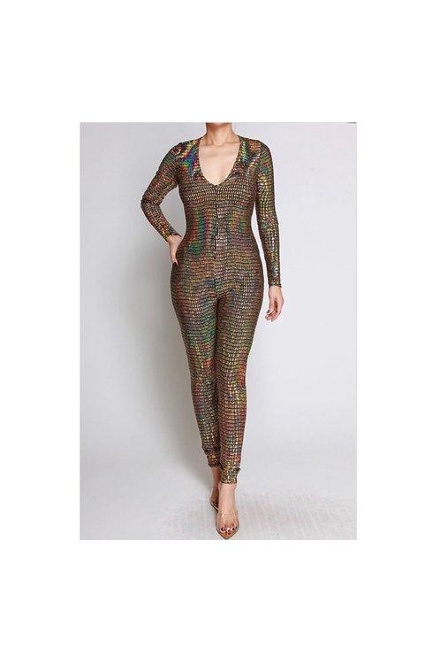 Gold Hologram Sequins Jumpsuit