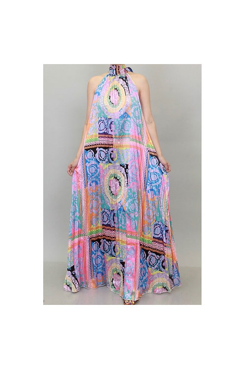 Pleated Crown Constrst Maxi Dress