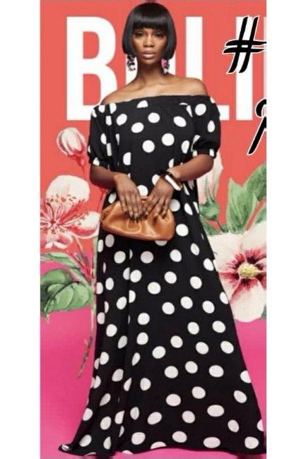 Off Shoulder Polka Dot Maxi Dress
