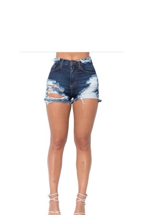 High rise Mini denim shorts