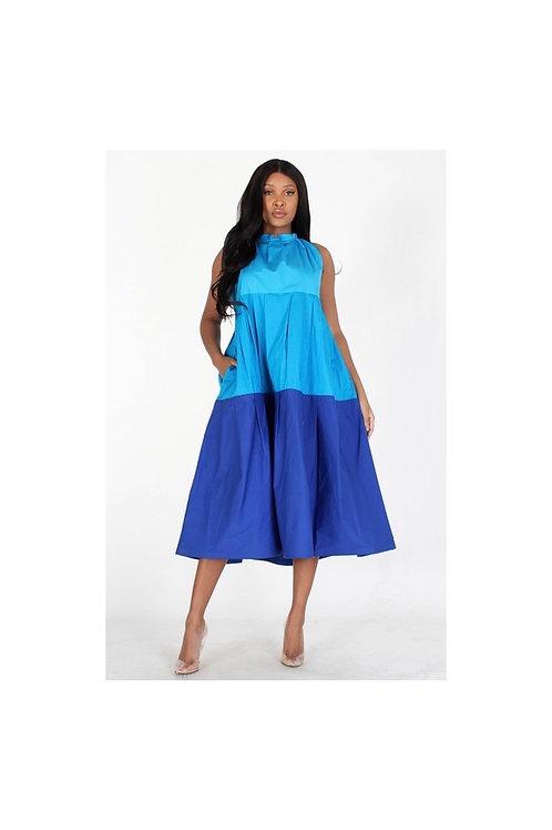 Multi 3-Tone Loose Midi Dress