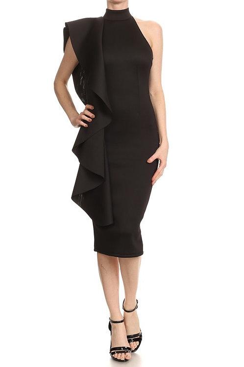 Off Shoulder Ruffle Bodycon Dress