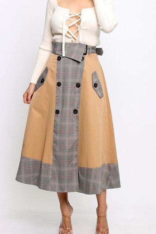 Checkered print flare skirt