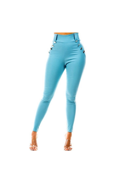 Solid Skinny High Waist Button Pants