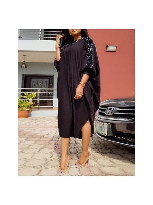 Sequins sleeve dolman dress