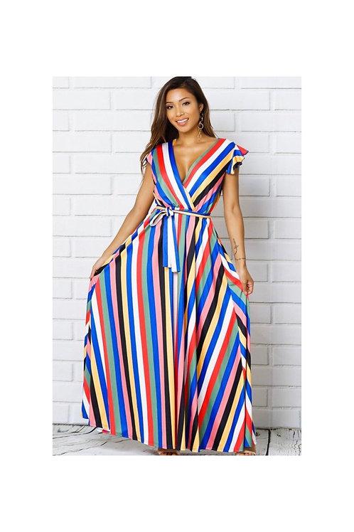 Rainbow Striped Maxi Dress
