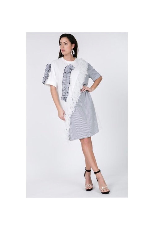 Ruffle T-Shirt Dress (White)